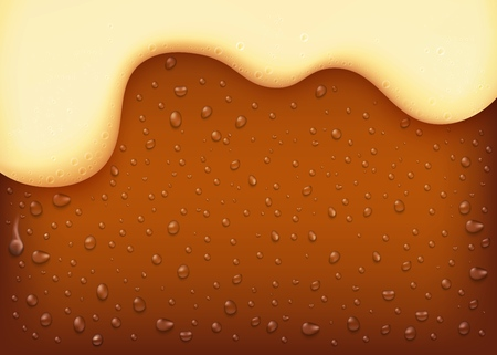vector dark beer background. Yellow beverage with water bubbles and white thick foam. Alcohol refreshing drink backdrop for brewery packaging design.