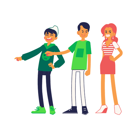 Vector concept of bullying and teen harassment. Young male, female characters viciously laughing pointing out to somebody, mocking, taunting teasing and gossiping making fun of it Illustration