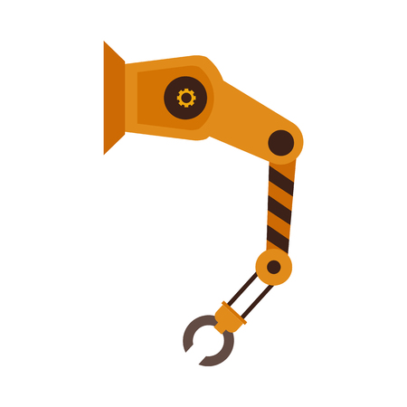 Vector industrial robotic arm for automatic manufacturing. Conveyor factory manipulator hand for machinery assembling. Automation system robot for mechanical operations icon. Isolated illustration Stock Vector - 115009229