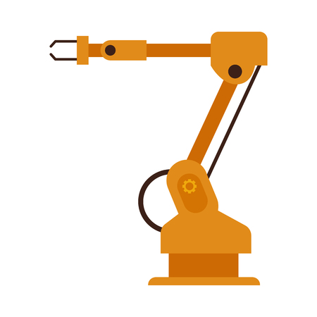Vector industrial robotic arm for automatic manufacturing. Conveyor factory manipulator hand for machinery assembling. Automation system robot for mechanical operations icon. Isolated illustration
