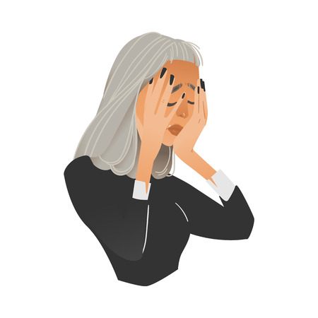 Vector illustration of anxious young woman having negative frustrated stressed expression or headache isolated on white background - flat cartoon female character holding head with hands.