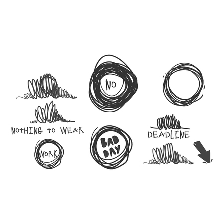 Vector stress badges in grunge ink style set. Bad day, stress at work, deadlines, nothing to wear, negative answers massages signs. Isolated illustration