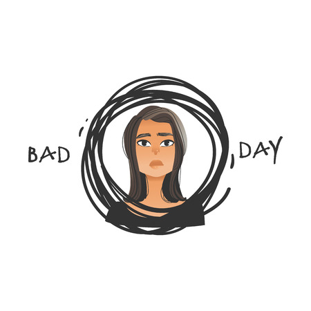 Vector bad day of beautiful young woman. Brunette girl with sad, dissapointed facial expression with negative emotion portrait in grunge circle. Unhappy upset female character. Isolated illustration