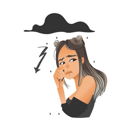 Vector beautiful young woman with lighting, rain from cloud behind her. Girl with sad, dissapointed facial expression with negative emotion . Unhappy upset female character. Isolated illustration