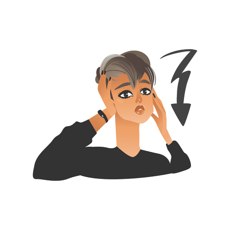 Vector beautiful young woman with lighting arrow as sign of stress and depression. Girl with sad, dissapointed facial expression with negative emotion. Unhappy upset female character illustration Illustration