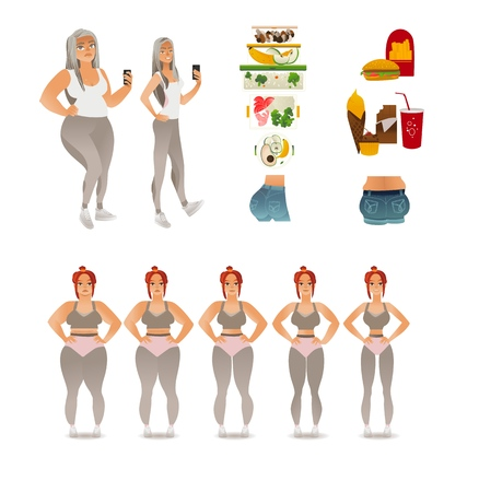 Vector losing weight concept. Stages from obese overweight to slim fit athlete female character, sexy butt and fat ones, junk food and fresh vegetables. Before and after dieting and doing sport
