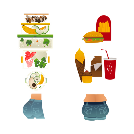 Vector female slim buttocks on healthy eating with fresh fruits, vegetables diet and fat ass of obese woman eating junk food, hotdogs, fastfood. Overweight and obesity concept. Isolated illustration Ilustração