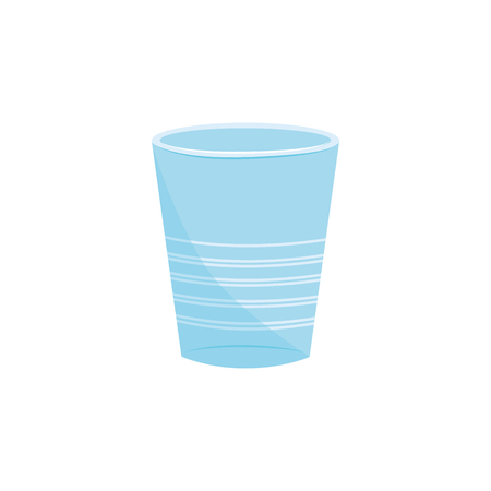 Vector disposable cup blue icon. Takeaway drink container, alcohol party beverage cup. Portable picknic water container. Environmental harmful plastic type, can be recycled. Isolated illustration  イラスト・ベクター素材
