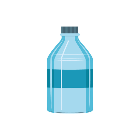 Vector plastic bottle icon. Blue clean container for bottled mineral water. Fresh drink empty bottle packaging. Freshness and healthy lifestyle symbol. Isolated illustration