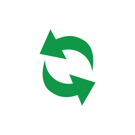 Vector illustration of recycle and circulation symbol with green arrows in circle form isolated on white background - eco friendly biodegradable materials and zero waste concept.