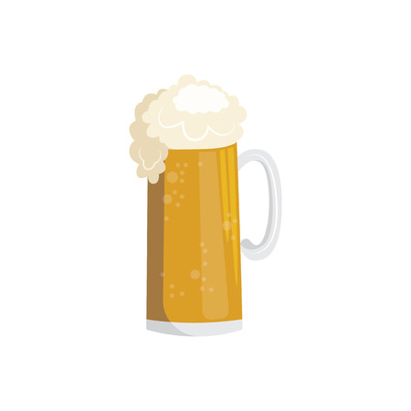 vector flat full mug of golden lager cool beer with thick white foam and water drops mockup closeup. Ready for your design product packaging. Isolated illustration Illustration