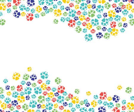 Reticolo dell'impronta della zampa animale astratta di vettore per il disegno veterinario. Gatto, cane animali domestici piedi colorati traccia modello, cornice con testo spaziale. Vettoriali