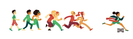 Success and competition concept with people in sport and casual clothing running in flat style - isolated vector illustration of race with winner woman crossing finish line and tearing red ribbon.
