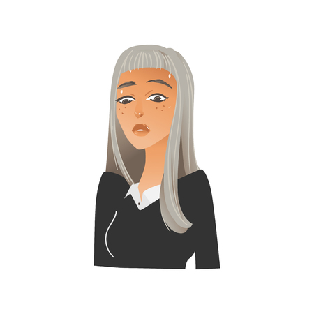 Vector beautiful young woman portrait with negative emotion. Blonde girl with sad, dissapointed facial expression. Unhappy upset female character. Isolated illustration Illustration