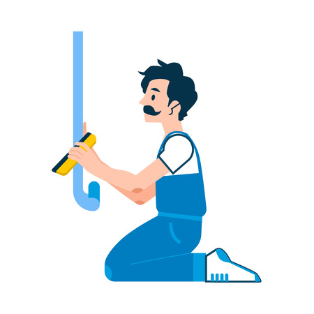 Vector repairman glueing wallpapers during house renovation work. Service worker wallpapering walls, smoothing wallpapers. Handsome male character in unifrom with mustache.