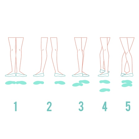 Vector illustration set of ballerina feet in pointe shoes standing in five classical ballet positions in flat line style isolated on white background - female legs performing ballet technique. 版權商用圖片 - 126319407