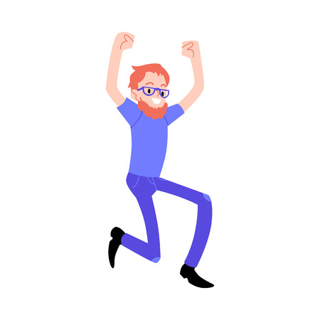 Vector funny redhead male character in denim jeans, glasses jumping raising hands up with happy facial expression. Young man and concept of success, achievement accomplishment. Isolated illustration