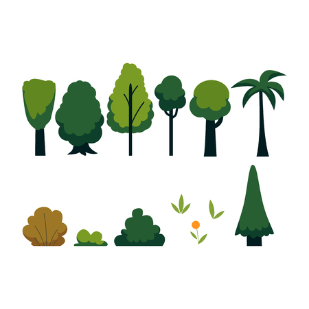 Vector abstract trees set. Majestic green foliage canopy, tropical palm, small park bushes and grass. Natural element for game landscape design. Forest plant flat icon. Symbol of ecology, environment