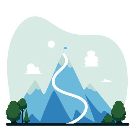 Montagne de vecteur avec drapeau sur son sommet. Concept de réussite, de réussite et de long cheminement de carrière. Symbole de leadership d'entreprise, de défi et de définition des objectifs.