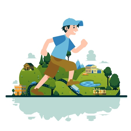 Vector man running in fast pace smiling. Happy male sportsman working out on countryside landscape background. Active young character, healthy lifestyle. Illusztráció