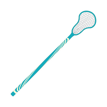 Vector lacross racquet blue icon. Ground game equipment. Professional sport, classic racket for official competitions and tournaments. Isolated illustration