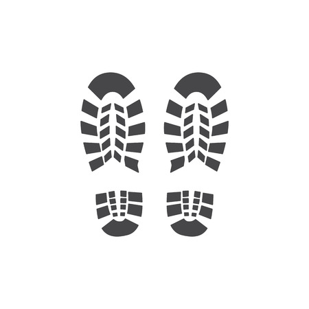 Vector abstract human boot, or sneakers shoe footprint icon. Black silhoette of footwear footmarks. Hiking equipment or army outdoor footwear. Isolated illustration