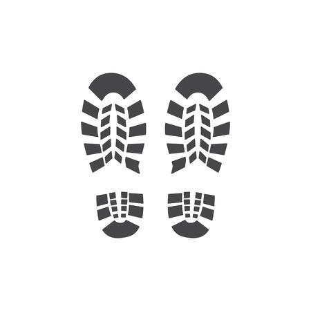 Vektor-abstrakte menschliche Stiefel oder Turnschuhe Schuh-Fußabdruck-Symbol. Schwarze Silhouette von Fußspuren. Wanderausrüstung oder Armee-Outdoor-Schuhe. Isolierte Abbildung Vektorgrafik