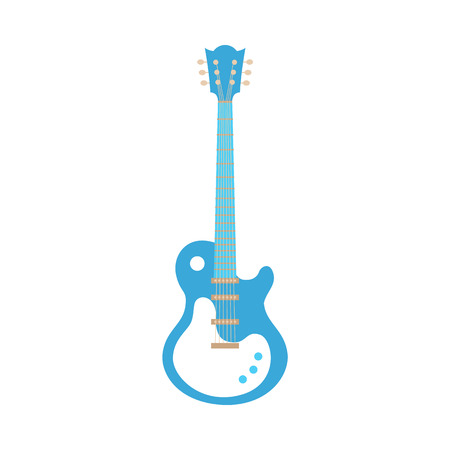 Vector blue electric guitar icon. Classic rock musical instrument. Symbol of heavy metal, blues and string music. Stage entertainment equipment for musicians. Isolated illustration
