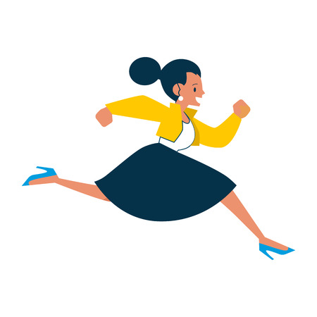 Vector running businesswoman. Female manager, woman in corporate outfit in a hurry, dashing to an appointment or meeting. Time management and business people. Isolated illustration  イラスト・ベクター素材
