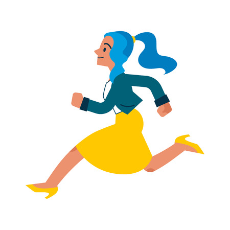 Vector running businesswoman. Female manager, woman in corporate outfit in a hurry, dashing to an appointment or meeting. Time management and business people. Isolated illustration Illustration