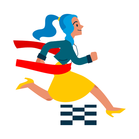 Vector running businesswoman crossing finish line. Female manager, woman in corporate outfit in a hurry, succeeding in competition. Time management and business people Isolated illustration
