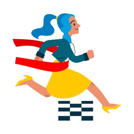 Vector running businesswoman crossing ligne d'arrivée. Femme manager, femme en tenue d'entreprise pressée, réussissant la compétition. Gestion du temps et gens d'affaires Illustration isolée