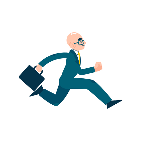 Vector running businessman in suit, glasses with suitcase. Male manager in corporate outfit in a hurry, dashing to an appointment or meeting. Time management and business people. Isolated illustration