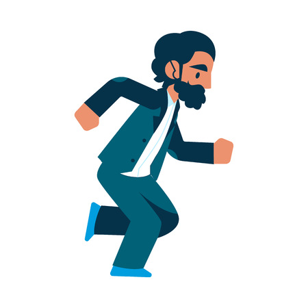 Vector running businessman in suit with beard. Male manager in corporate outfit in a hurry, dashing to an appointment or meeting. Time management and business people. Isolated illustration