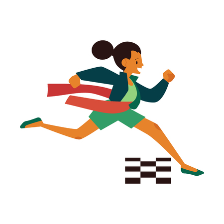 Vector running woman crossing finish line. Female character in casual outfit in a hurry, succeeding in competition. Time management people Isolated illustration Illustration