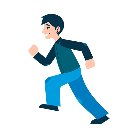 Vector walking or running flat man in casual outfit, blue denim jeans and jacket. Handsome male character pedestrian or walker. Isolated illustration 向量圖像