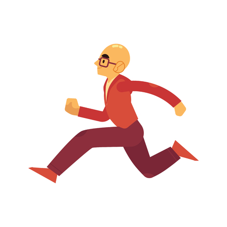 Man in sportswear and eyeglasses running isolated on white background. Side view of adult active male character jogging in flat cartoon vector illustration for healthy and sporty lifestyle concept. 向量圖像