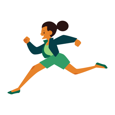 Young woman in sportswear running in flat cartoon style isolated on white background. Side view of active girl jogging for healthy and sport lifestyle concept in vector illustration. Imagens - 126319436