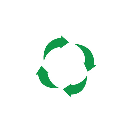 Vector green arrows recycle icon. Zerowaste concept symbol. Environment and ecology care, responsibility concept. Save the earth, reusable product emblem. Isolated illustration Vettoriali