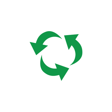 Vector green arrows recycle icon. Zerowaste concept symbol. Environment and ecology care, responsibility concept. Save the earth, reusable product emblem. Isolated illustration Çizim