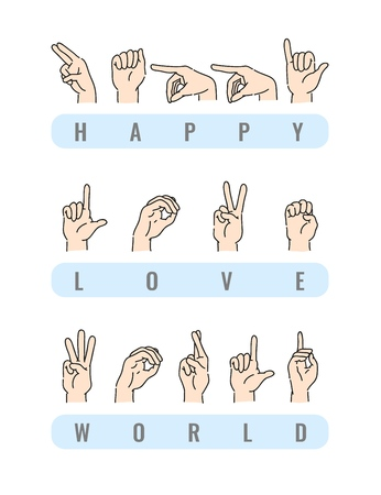 Vector deaf-mute alphabet with hand gestures set. Hand drawn mute language, communication for disabled people. Finger, palm and fist signs collection. Isolated illustration  イラスト・ベクター素材