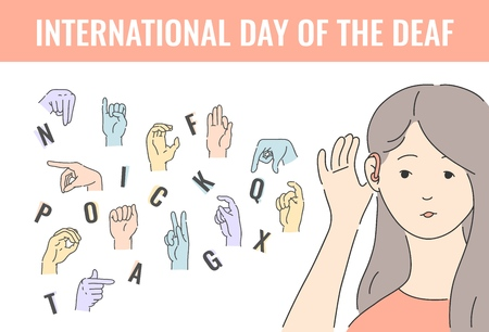 Vector world deaf dat holiday with deaf-mute alphabet with hand gestures and deaf young woman. Mute language, communication and beautiful female disabled character. Finger, palm and fist signs