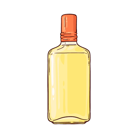 Vector tequila bottle sketch icon. Hand drawn alcohol drink glass bottle. Mexican traditional drink for party. Strong alcohol beverage blank container for your design. Isolated illustration