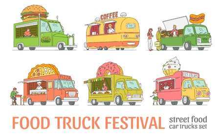 Vector sketch food festival trucks set. Ice cream, hotdog, coffee, pizza and sweets vans in vintage style set. 90s food and trucks, mobile fastfood shop vehicle. Retro delivery car illustration Banco de Imagens - 115136319