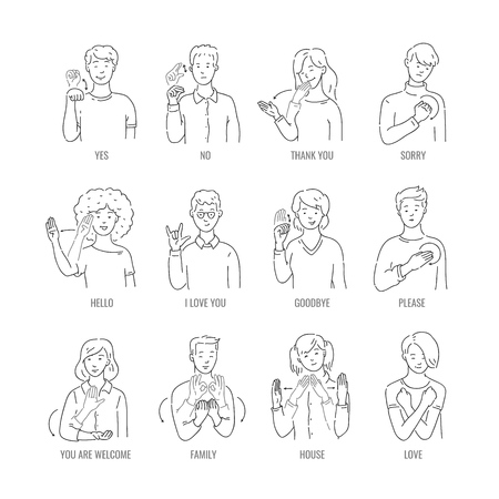 Vector men, women showing basic deaf-mute sign language symbol. Smiling sketch female, male monochrome characters and hand communication sign set. Different social communication, basic word Illustration