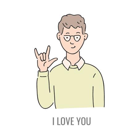 Vector joven mostrando te amo símbolo de lenguaje de señas sordomudo. Sonriente personaje masculino de bosquejo y signo de comunicación de la mano por su mano Diferente comunicación social, palabra básica.