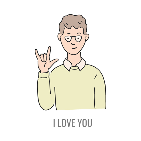 Vector young man showing i love you deaf-mute sign language symbol. Smiling sketch male character and hand communication sign by his hand. Different social communication, basic word Banco de Imagens - 126319451