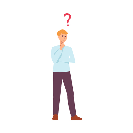 Vector young blonde man in casual clothing standing in thoughtful pose holding his chin thinking with questions above head. Isolated illustration portrait in flat style
