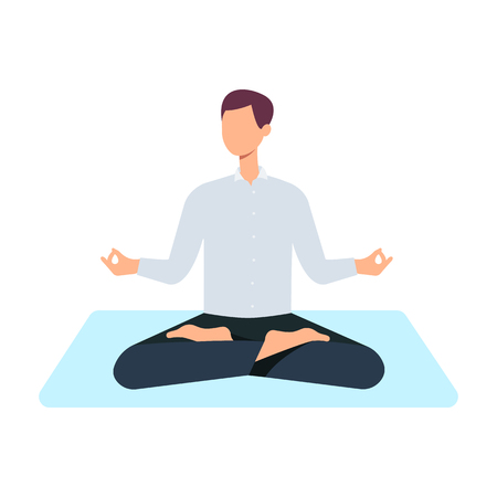 Vector man in casual outfit sitting in lotus posture practicing yoga. Male character at relaxation session. Concept of meditation, healthy lifestyle. Isolated illustration Illustration