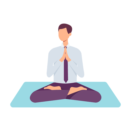 Vector man in corporate outfit, suit sitting in lotus posture practicing yoga. Male character at relaxation session. Concept of meditation, healthy lifestyle. Isolated illustration Stok Fotoğraf - 115136325